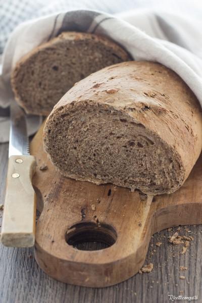 Pane ai sette cereali con semi di sesamo e girasoli con lievito madre