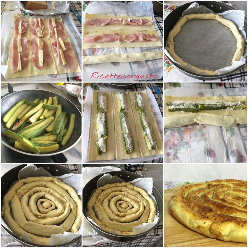 Spirale di sfoglia con zucchine e prosciutto cotto