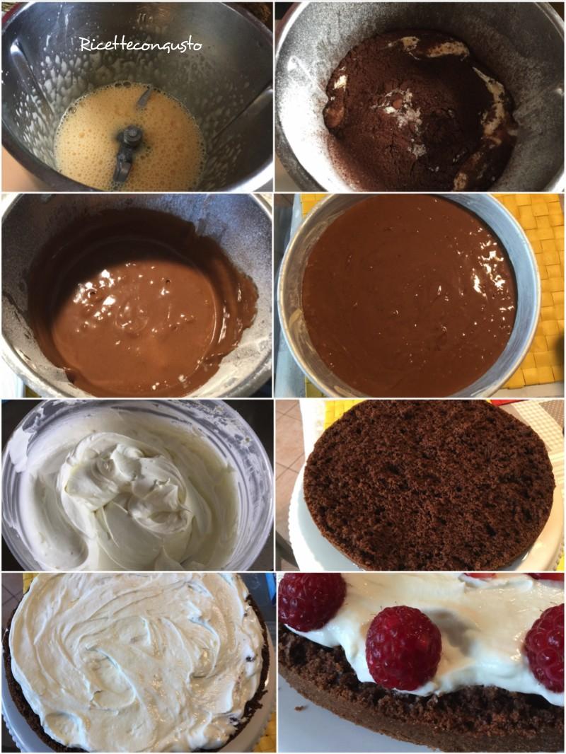 Torta al cioccolato, cheese cream e lamponi
