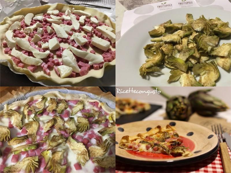 Torta salata con prosciutto e carciofi