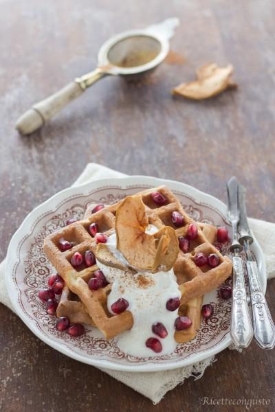 Waffel di farro e yogurt greco con yogurt, melagrana, cannella e mele essiccate
